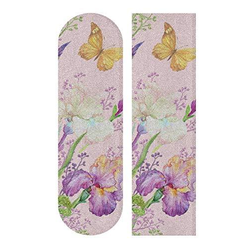 LMFshop 33,1x9,1 Zoll Sport Outdoor Longboard Schleifpapier Mädchen Schmetterling Fee Mit Blumen Drucken Wasserdicht Lustige Skateboard Griffband Für Tanzbrett Doppel Rocker Board Deck 1 Blatt