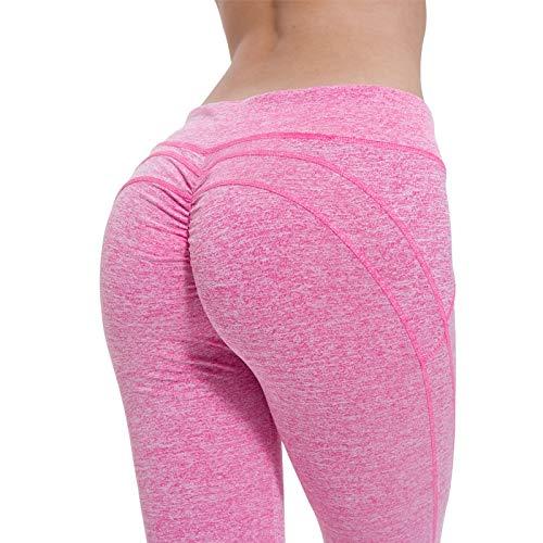 Tivivose Polainas Deporte Mujeres de la Aptitud de Yoga Pantalones Sweatpants Jogging Gimnasio Ropa Empuja hacia Arriba el Gimnasio Ropa Anti Celulitis de Cintura Alta (Color : Pink, Size : XL)