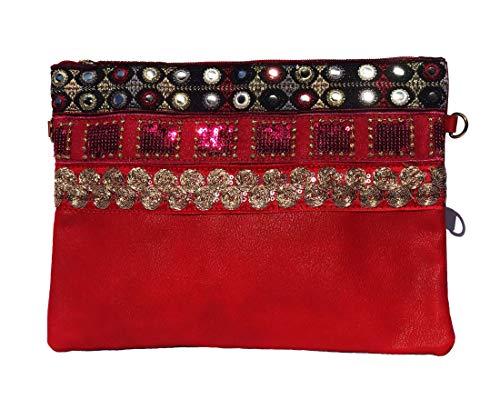 NOVAGO Pochette à Maquillage, Pochette multiusage,Pochette pour Tablette iPad avec bandoulière et décoration Fait Main (Rouge)