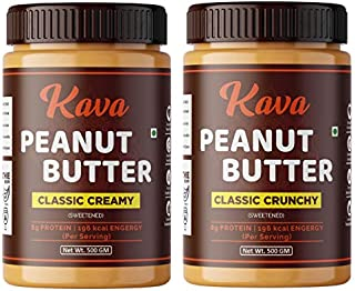 Kava Classic Peanut Butter Combo Creamy - Crunchy (500g + 500g = 1 kg) Made with Roasted Peanuts ,25% Protein ,Non GMO ,Gl...