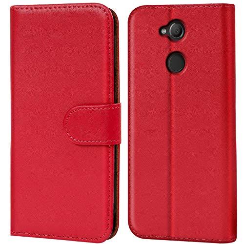 Verco Xperia XA2 Hülle, Handyhülle für Sony Xperia XA2 Tasche PU Leder Flip Hülle Brieftasche - Rot
