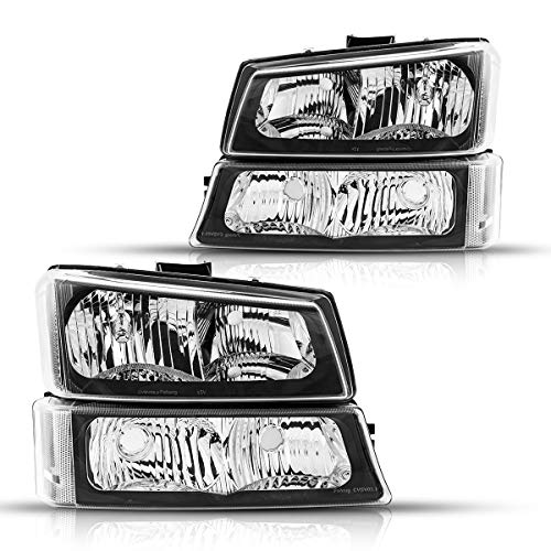 Torchbeam Replacement Headlight Assembly for 2003-06 Avalanche1500 Compatible with 03-06 Silverado 1500/1500HD/2500/2500HD/3500 Black Housing Clear Reflector Pack of 2