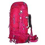Eshow Trekkingrucksäcke Wanderrucksäcke Reiserucksack für Reisen Wandern und Bergsteigen Wasserdicht Ultraleicht 60L 31*68*24 mit Regenabdeckung, Rosa