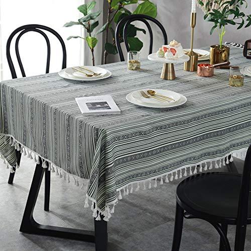 Sunhao stoffen tafelkleed gestreept tafelkleed in etnische stijl grijs-groen gestreept tafelkleed met kwast 140 x 250CM