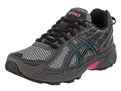 powerful ASICS Ladies Gel Venture 6 Sneakers 7.5m Black / Blue / Pink Luminous
