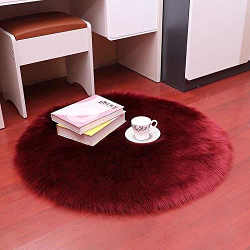 GYhxl Natürliches künstliches Schaffell Dunkelroter Teppich Anti-Rutsch-Fußmatten aus weichem Stoff Teppich Essbereich Teppich Schlafzimmer Wohnkultur 100x100cm