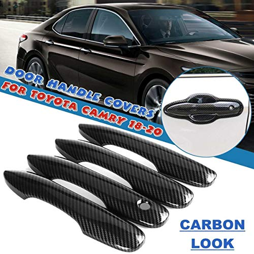 Manija de la puerta exterior 4pcs / set Carbon Car Carbon 4 Puertas Actualización General Handle Smart Keyless Funds Trim PROTECT FIT PARA TOYOTA CAMRY 2018 2019 2020 (Color : General)