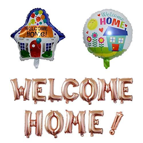 Mirrwin Welcome Home Balloon Willkommen zu Hause Ballon Welcome Foil Balloon Welcome Home Banner Welcome Home Balloon Roségold Kann für home party dekoration verwendet werden Kombination einstellen