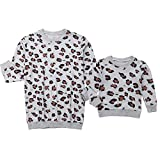 Mommy and Me Outfits Leopard Print Sweatshirt Pullover Sweater Long Sleeve Casual T-Shirt Blouse Top Family Fall Clothes (Mom Baby Toddler Daughter, Small)
