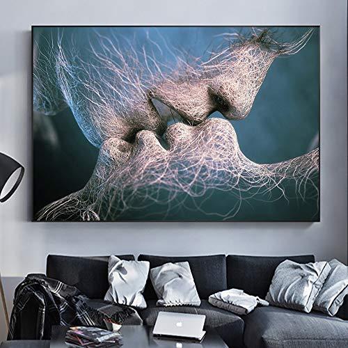 Lunderliny Amantes Abstractos Besan Arte Moderno Pintura Decorativa sobre Lienzo Póster De Arte De Pared E Impresiones Imagen Nórdica para Sala De Estar 50x70cm