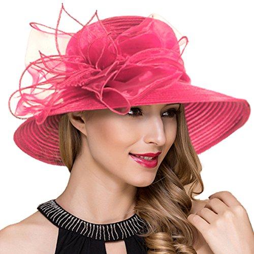 Ruphedy Ruphedy Königliche Ascot Derby Cloche Hüte der Frauen britische Kirchen-Kleid-Tee-Party Eimer Hut S051 (S052-Rose)
