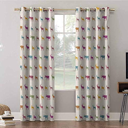 Aishare Store Bedroom Curtains, W52 x L63 Thermal Insulated Blackout Draperies Panels, Animals with Antlers Wildlife Pattern Inspired Colorful Cre, Blackout Curtains for Kids Bedroom(2 Panels)