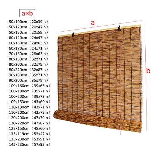 WYCD Natürlicher Bambusrollo, Reed Vorhang Rollo mit Lifter, Sonnenschutz für Außen/Innen, 90x180cm