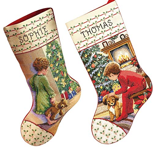Janlynn Christmas Stockings Counted Cross Stitch, 2 Kits: Waiting for Santa and Christmas Morning with 2 Gift Cards