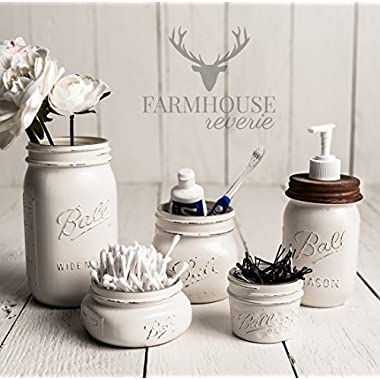 White Rustic Mason Jar Bathroom Set | White Bathroom Storage Set | Farmhouse Bathroom Decor | Rustic Bathroom Decor | Vintage Decor | Rustic Kitchen Decor | Farmhouse Kitchen Decor