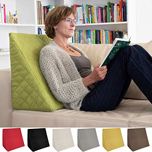 The Amazing Wedge for your Living- or Bed Room, Reading Pillow for Relaxed Sitting. 5 Uni-Colours for Trendy Room Design by Sabeatex (Green)
