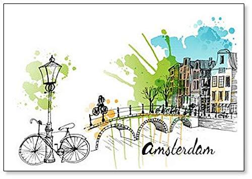 Amsterdam - Imán para nevera con diseño de acuarela