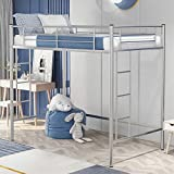 Twin Loft Beds with Built-in Ladders, Metal Loft Beds Twin Size, Full-Length Guardrail, No Box Spring Needed (Silver)