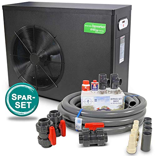 Peraqua Smart Inverter Wärmepumpe 3-stufig inkl. Bypass-Set + Flexrohr (5,0 KW)