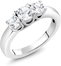 Gem Stone King 925 Sterling Silver Natural White Topaz 3-Stone Women Rings Fine Jewelry For Women Wedding (1.16 Ct Round, Available in size 5, 6, 7, 8, 9)