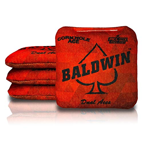 CornholeAce Dual Aces - James Baldwin - Red (Set of 4 Bags) - ACL Pro Stamped