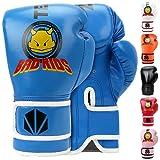 Guantes De Boxeo TEKXYZ Bad Kids Series - 1 Par De Guantes De Entrenamiento De Boxeo De Cuero Sintético para Niños con Colores Vivos para Niños y Niñas De 3 A12 Años