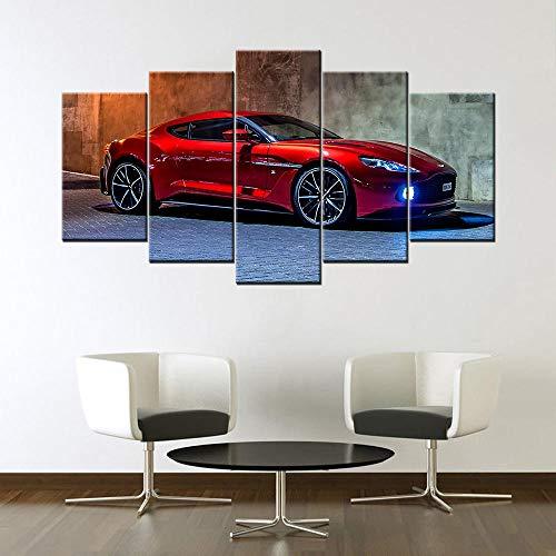 VVSUN 5 Piezas Lienzo Pintura Moderna decoración del hogar Cuadro de Arte de Pared Rojo Aston Martin Vanquish Supercar Cartel 30X60 30X80 30X100cm sin Marco