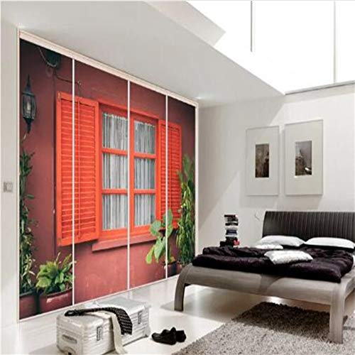 Meaosy 3D Venster Muurschilderingen Niet-geweven Wallpapers Rode Rolluiken Fotobehang Huisdecoratie Woonkamer Groene Boom Schilderen Wallpapers 120x100cm