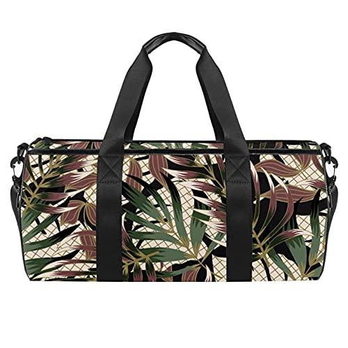 Bolsa de deporte para hombres bolsa de deporte de viaje al aire libre pequeña bolsa de lona peligro, calavera, Hojas y plantas, 45x23x23cm/17.7x9x9in,