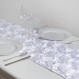 BalsaCircle 14 x 108-Inch White Raised Roses Table Top Runner - Wedding Party Reception Occasions Linens Decorations