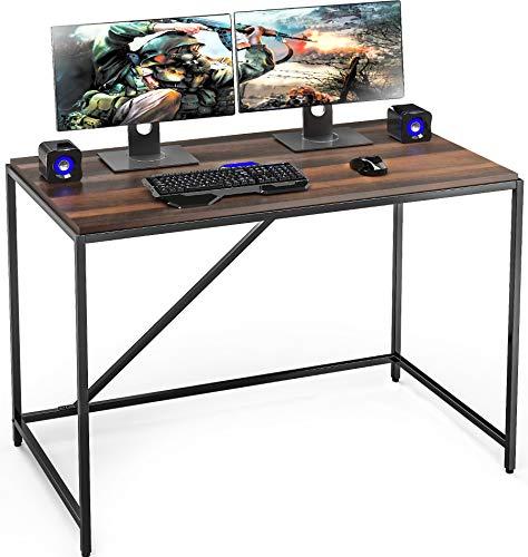 FITUEYES Computertisch Schreibtisch für Arbeitszimmer Workstation Holzfarbe Dunkle Eiche 110x60x77cm BCD111001WB
