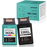 ZIPRINT Cartuchos de tinta compatibles HP 338XL 343XL para HP Photosmart C3180 2710 C3125 7850 8150 PSC 1610 2355 OfficeJet 6210 7310 100 150 H470 K7100 DeskJet 460c 5746460c 0.