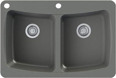 Transolid Gtsc2522 17 Cd Genova Silq Granite 2 Hole Dual Mount Single Bowl Kitchen Sink 25 In L X 22 In W X 8 In H Grey