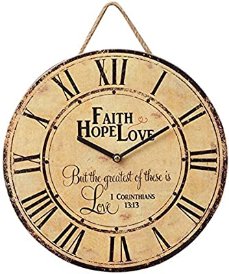 Your Hearts Delight Faith Hope Love Vintage Round 11.5 Inch Wood Wall Hanging Clock Plaque