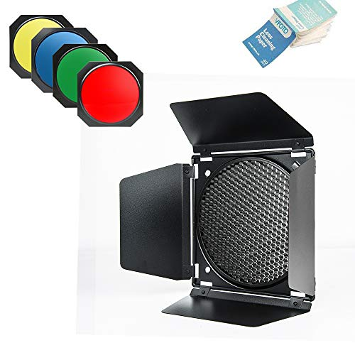 Godox BD-04 Barn Door + Honeycomb Grid + 4 Color Filters for All Bowens Mount LED Video Light (BD-04)