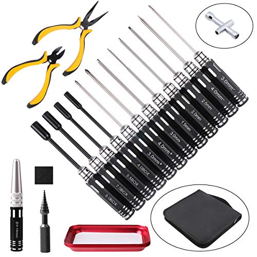 FPVERA 18IN1 RC Tools Kits Box Set Screwdriver Pliers Hex Sleeve Socket Repair for RC Car Boat Quadcopter Helicopter Multirotors Models