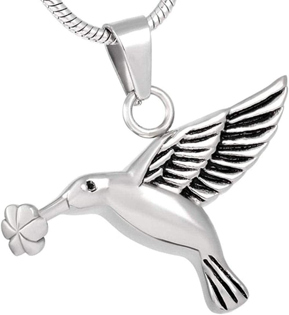 AEGW Cremation Memorial Memorial Cremation Cremation Jewelry Smoke ash Stainless Steel Souvenir Necklace Bird-Shaped Cremation Jewelry Souvenir ash Pendant Box