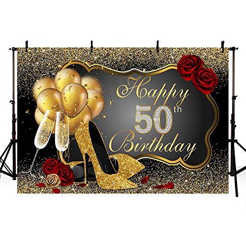 MEHOFOTO Foto Achtergrond Glanzende Pailletten Zwart Goud Hoge Hakken Champagne Vrouw Rode Rose Ballonnen 50e Gelukkige Verjaardag Party Banner Achtergronden voor Fotografie 8x6ft