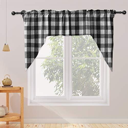 "NATUS WEAVER Swags for Kitchen Window Curtain Valance 1 Panel Buffalo Check Swag Classic Country Farmhouse Window Curtain - Black & White W 54"" x L 36"" with a 16"" Center Drop"
