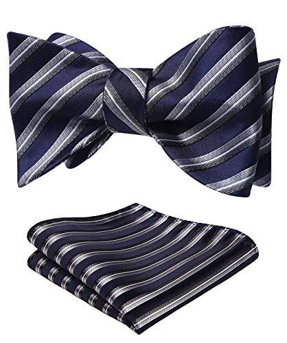 SetSense Men's Striped Jacquard Wedding Party Self Bow Tie Pocket Square Set ,K911 Navy Blue / Gray,One Size
