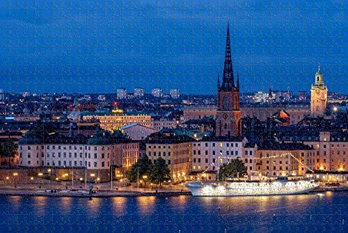Pussel för vuxna Stockholm stadsbildspussel 1000 bitars resesouvenir i trä