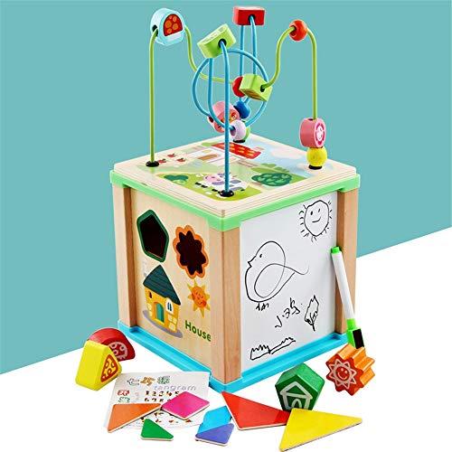 Laberinto Multifunción Actividad Cubo Juego de cubos de madera con formas más corto del grano Maze Juego de aprendizaje educativo preescolar juguete de regalo for niños pequeños Actividad de Madera Cu