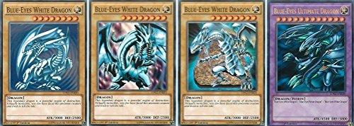 KNMI Yu-Gi-Oh! Kartenset Blue-Eyes Fusion - 1x Blauäugiger Ultimativer Drache + 3X Blauäugiger W. Drache (Verschiedene Artworks)
