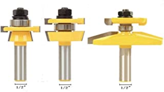 GAFeng Shaker 3 Router Bits Raised Panel Cabinet Door Router Bit Set Rail and Stile with Cove Panel Raiser Router Bit Set 1/2-Inch Shank