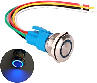 ARTGEAR 0.87 Inch/22mm Stainless Steel Momentary Push button Switch 12V-24V LED 1NO1NC SPDT ON Off Waterproof Toggle Switch with Wire Socket Plug (Blue LED)