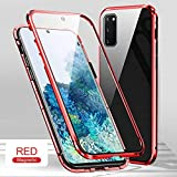Wigento Beidseitiger 360 Grad Magnet/Glas Hülle Hülle Handy Tasche Bumper Rot für Samsung Galaxy S20 FE Fan Edition G780F G781B