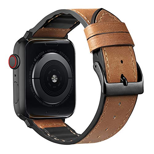 Compatible with Apple Watch Band 38mm 40mm 42mm 44mm, CTYBB Blingbling Sweatproof Genuine Leather and Silicone Band for iWatch SE Series 6 5 4 3 2 1, (Light Brown Band+Black Adapter, 38mm 40mm)