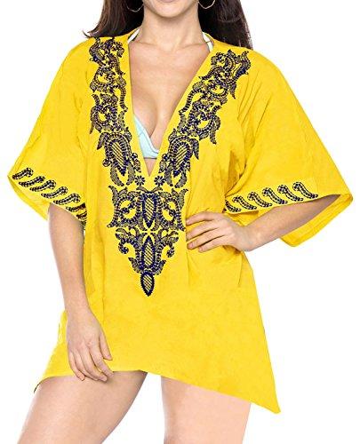 LA LEELA Playa Amante Encubrimiento Boho caftán Tapa la túnica Las señoras Poncho Kimono Vestido Verano Informal Ropa Playa Noche Bordado, más Mujeres rayón Suave Amarillo
