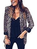 Tomwell Mujeres Blazer Elegante Estampado de Leopardo Oficina Negocios Parte Traje de Chaqueta Slim Fit Outwear Tops Estampado Leopardo ES 38