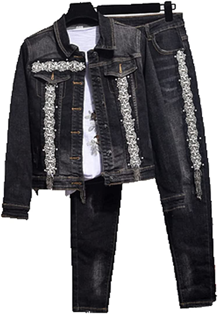 Pokem&Hent Suit Women Beaded Denim Jacket + Stretch High Waist Jeans Pants Two-Piece Streetwear